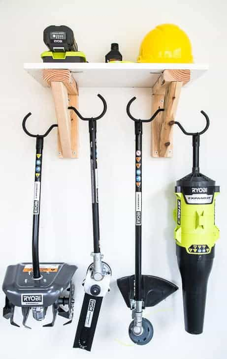 This garden tool storage rack gives your tools plenty of space while getting them off the floor!