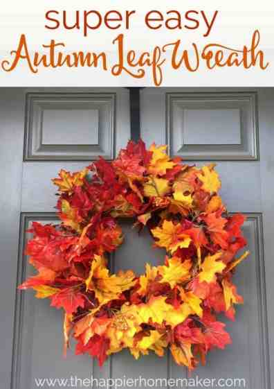 super easy autumn leaf wreath