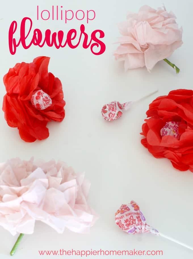 Valentines Day Craft Tissue Paper Flower Lollipops