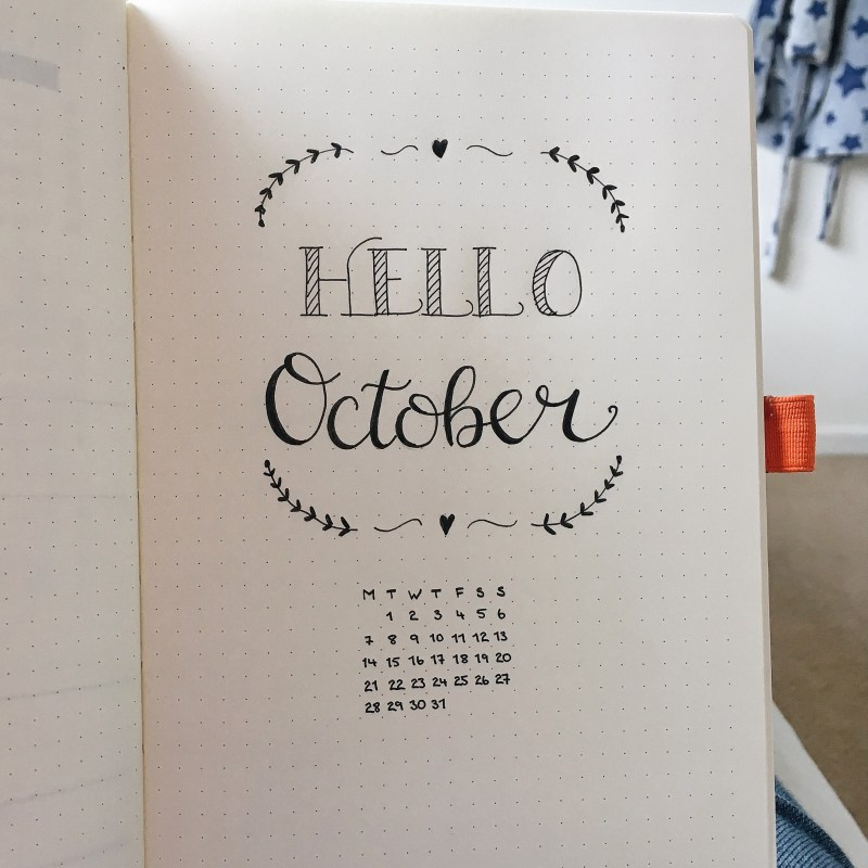 October Bullet Journal monthly spread