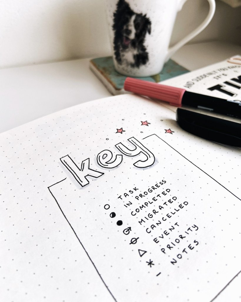 Example of a bullet journal key