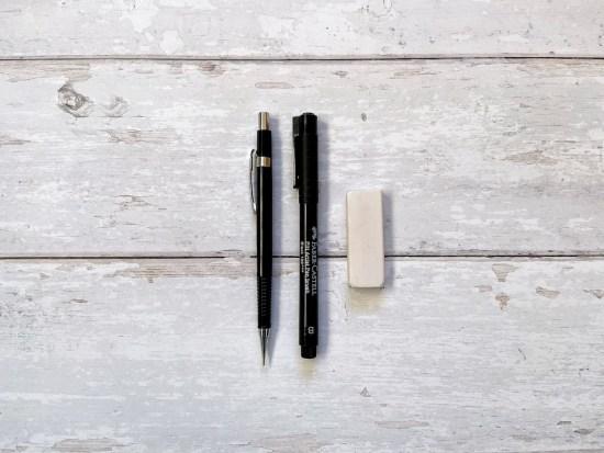 Technical Pencil and Eraser, Faber Castell PITT Brush Pen B
