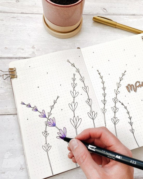 Lavender bullet journal spread