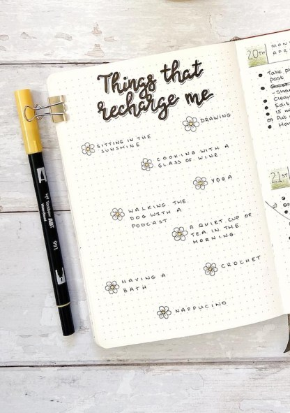 Things That Recharge Me Planner Insert