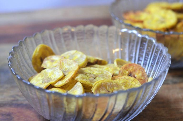 guilt-free baked plantain chips