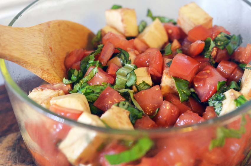 balsamic chicken bake with asparagus and tomato basil mozzarella salad gluten free grain free