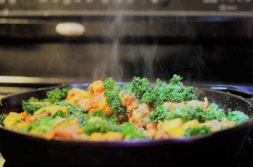 whole 30 gluten free grain free sweet potato kale apple chicken sausage skillet