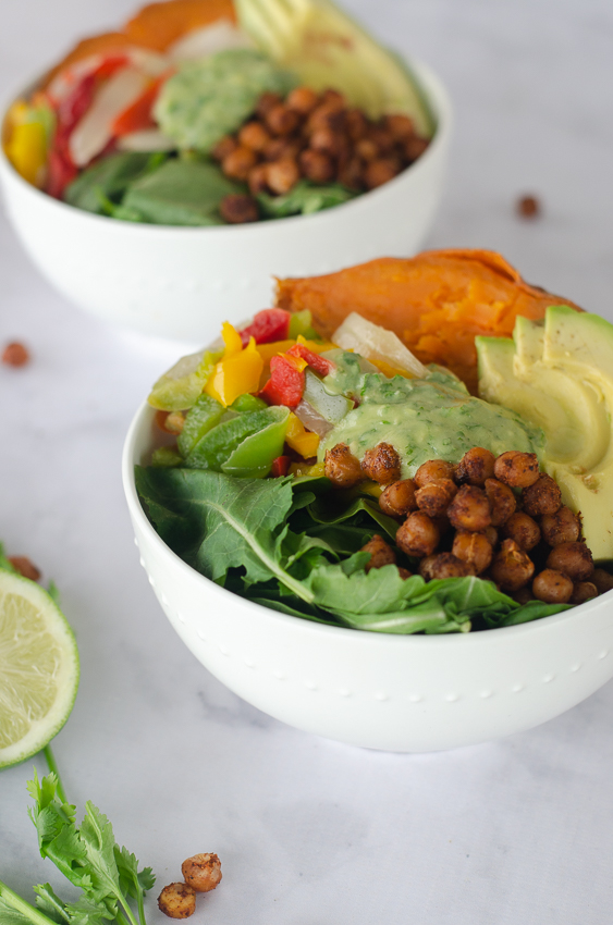 These crunchy chili chickpea veggie bowls are a sure-fire winner for your family. They're gluten-free, grain-free, vegan and dairy-free!