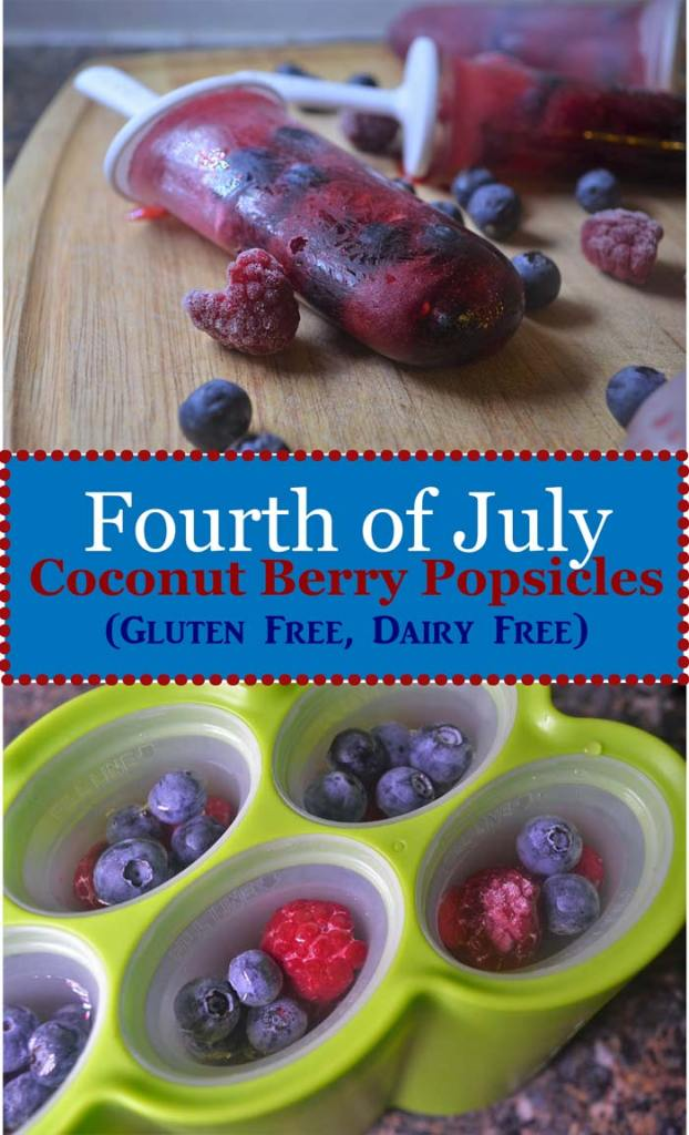 fourth of july coconut berry popsicles