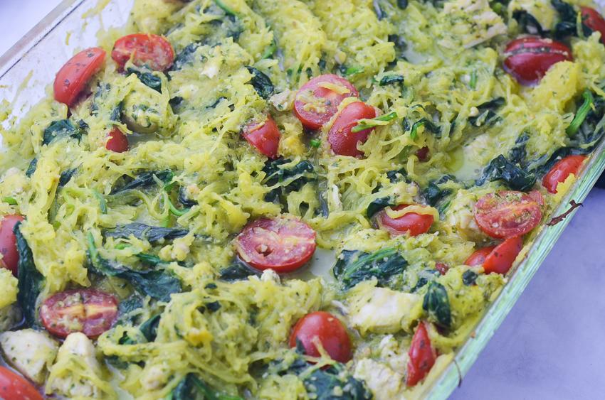 A delicious pesto spaghetti squash with chicken and spinach, whole30 compliant, keto, low-carb, dairy-free, gluten-free, grain-free!