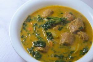Whole30 compliant pumpkin curry soup, made with coconut milk, homemade bone broth, spinach, pumpkin puree, sausage and carrots. Paleo, gluten-free, grain-free, low-carb, ketogenic.