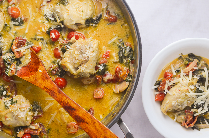 This super creamy Asiagochicken with spinach and tomatoes is so quick and easy, it can be made in one skillet in under a half an hour! Keto, low-carb, gluten-free, grain-free.