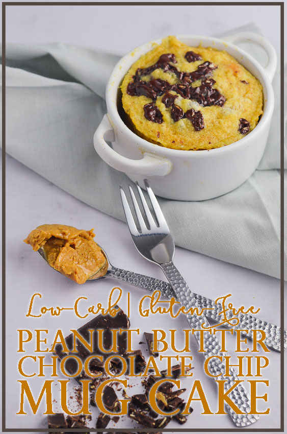 A moist and flavorful keto peanut butter chocolate chip mug cake for one. Perfect for breakfast, dessert or any time in between! Gluten-free, grain-free, low-carb and sugar-free with a dairy-free option.