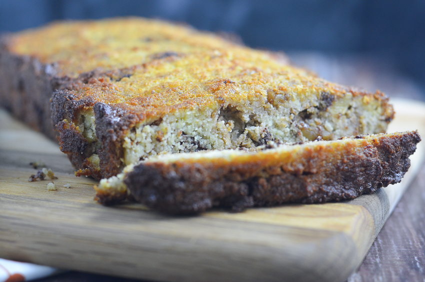 A delicious Paleo chocolate chip banana nut bread made with coconut flour, lots of ripe bananas, walnuts and chocolate chips. Not too sweet, this is a healthy bread recipe perfect for breakfast, dessert or any time in between! Paleo, dairy-free, gluten-free and grain-free.