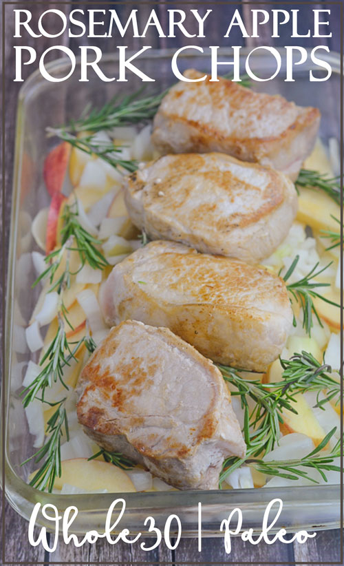 These four-ingredient rosemary and apple pork chops are a sure-fire winning recipe for your family. They're so gourmet that your family may have trouble believing you made them yourself! Whole30 compliant, Paleo, gluten-free, grain-free, dairy-free.