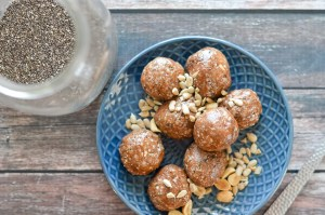No-bake nut butter energy balls. Made with chia seeds, sunflower seeds, hemp seeds, your favorite nut butter, coconut flour, cocoa powder and sweetener, these are protein-packed and perfect for when you need a boost during a hike or post-workout. Gluten-free, grain-free, ketogenic, low-carb, vegan, vegetarian and plant-based.