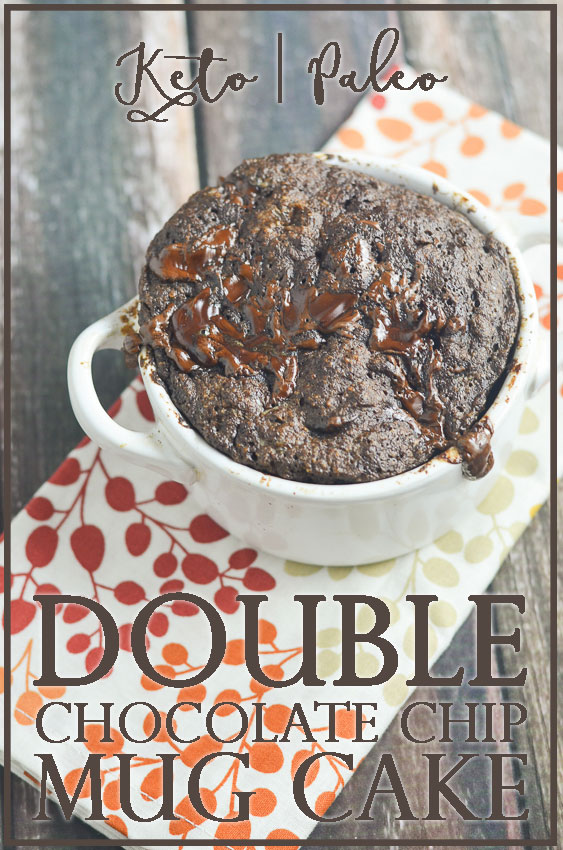 A double chocolate chip mug cake you can make in the microwave. Have dessert ready to eat in under 5 minutes, start to finish! No mess to clean up, and only one mug used! Gluten-free, grain-free, low-carb, Paleo, ketogenic.