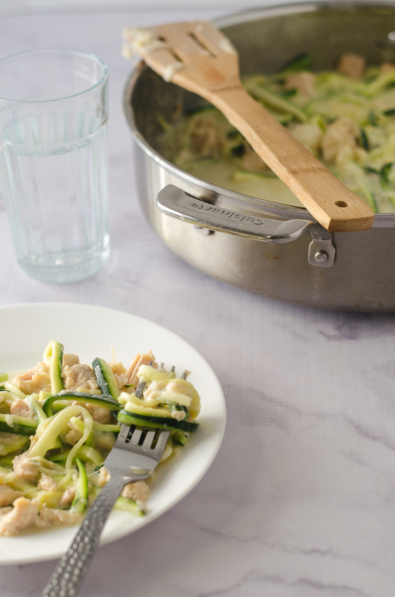 This double cheesy tetrazzini is made healthier with the addition of zucchini noodles to replace the traditional linguini. It's also made really creamy, thanks to the coconut milk (or heavy cream) and tons of Parmesan and mozzarella cheese. Low-carb, gluten-free, ketogenic, grain-free.