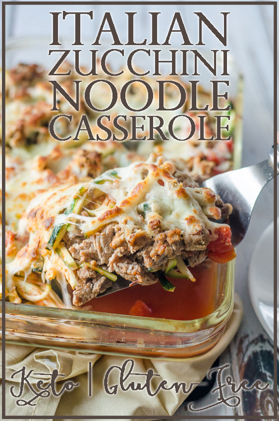 A quick and easy Italian zucchini noodle casserole with tomatoes and ground turkey. Cook the turkey, toss all the ingredients into a dish and cook in the oven! Gluten-free, grain-free, ketogenic, low-carb.