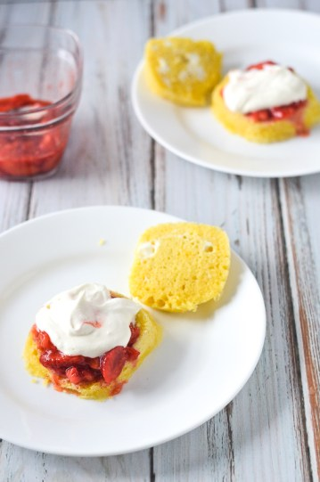 A super quick and easy microwave strawberry shortcake, where the sponge cake is made in a mug, the strawberry filling is microwaved and mashed to form a gooey and sweet layer, and the whipped cream is made fresh with a bit of added sweetness. Takes under 10 minutes, start to finish. Gluten-free, grain-free, ketogenic, low-carb.