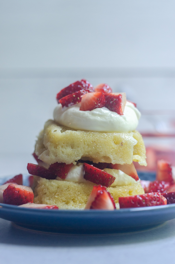 A super quick and easy microwave strawberry shortcake, where the cake is made in a mug. Takes under 10 minutes, start to finish. Gluten-free, ketogenic.