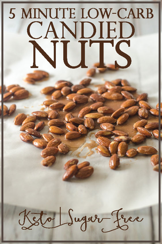 5 minute low-carb candied nuts made with whatever type of nuts you prefer. Made with a sugar-free sweetener, these candied nuts are totally ketogenic and low-carb. Guilt-free and delicious, they are the perfect snack or dessert for when your sweet tooth strikes.