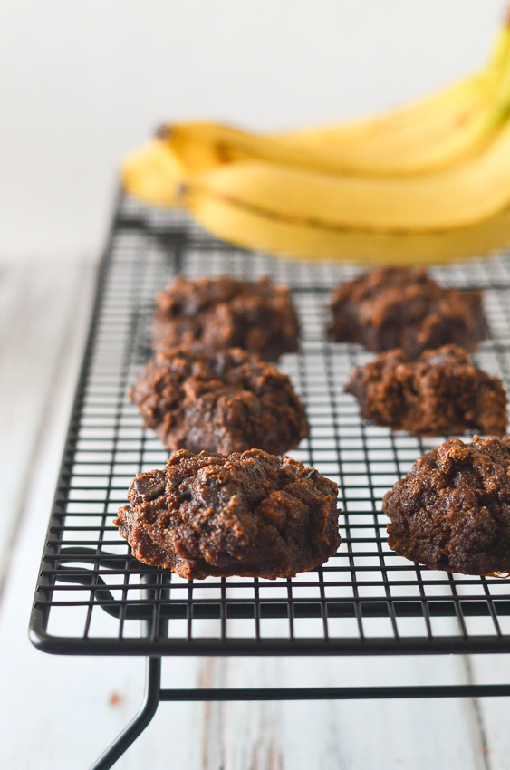 These double chocolate chip banana cookies are super-soft and moist for a delicious treat. Sweetened with bananas and a little additional sweetener, if you desire. Paleo, gluten-free, grain-free and dairy-free.