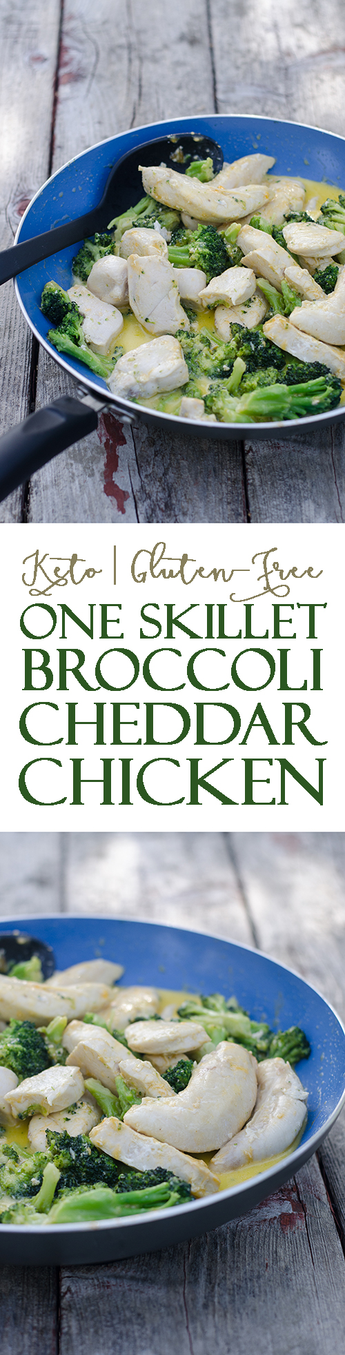 A simple 15 minute meal, this one skillet broccoli cheddar chicken is perfect for busy nights when your mind is elsewhere. All you need is one pot and five simple ingredients! Gluten-free, grain-free, low-carb and ketogenic.