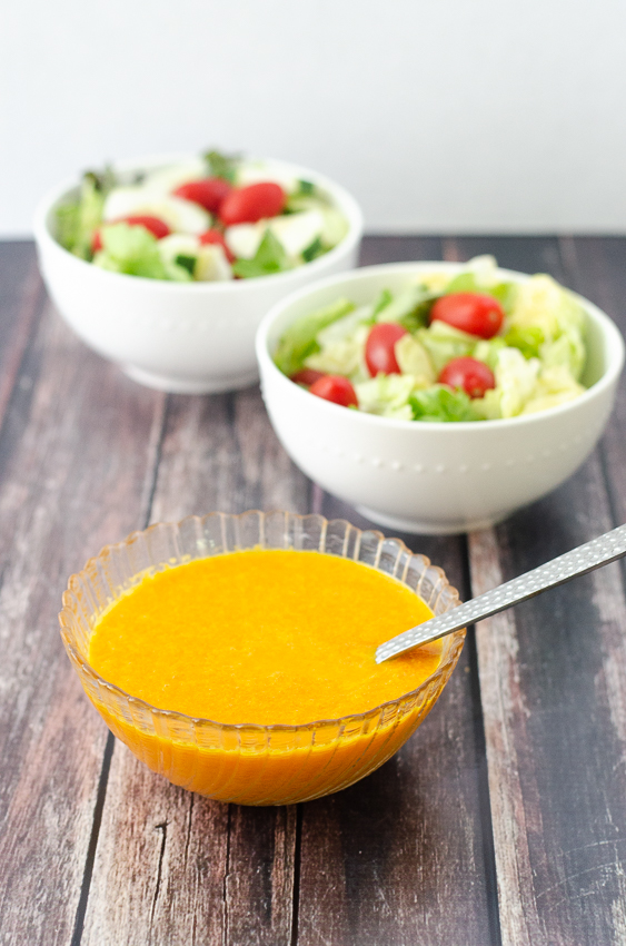 This Asian-inspired orange carrot ginger dressing is so vibrant in color and even more so in flavor! Ready in just a few minutes, it makes the perfect finishing touch to a salad, or as a dip for sushi or vegetables. Gluten-free, grain-free, Paleo, Whole30, vegan, low-carb.