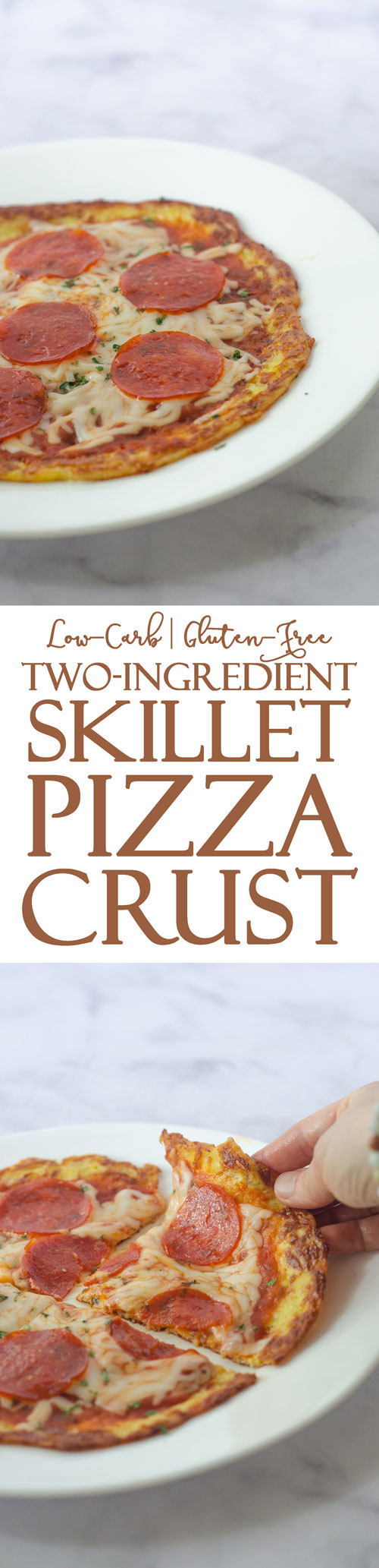 An incredibly simple two-ingredient skillet pizza recipe that is much simpler and faster than a traditional pizza. Made entirely on the stove, it's great for those without a working oven, or if you desire something a little different! Gluten-free, grain-free, low-carb, ketogenic.