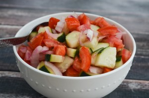 The perfect accompanimentto some summer BBQ, this simple tomato, onion and cucumber salad is incredibly simple and delicious! Vegan, gluten-free, grain-free, dairy-free, Whole30, Paleo, ketogenic, low-carb.