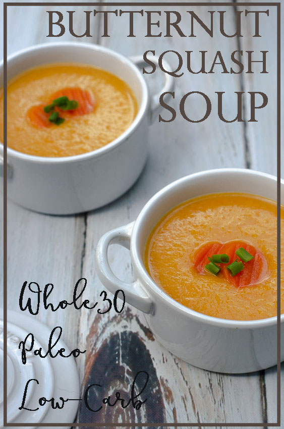 A thick and creamy butternut squash soup, this dish is hearty and perfect for a chilly fall evening. Great for those who are gluten-free, grain-free, dairy-free, Paleo, Whole30, low-carb and ketogenic.