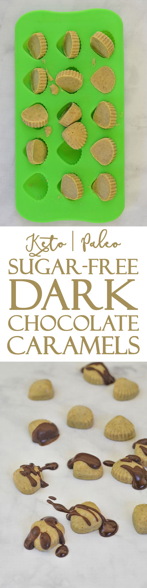 A simple and delicious recipe for sugar-free dark chocolate caramels. Made using a keto caramel sauce, these candies contain no harmful artificial sweeteners. Low-carb, Paleo, sugar-free, keto.