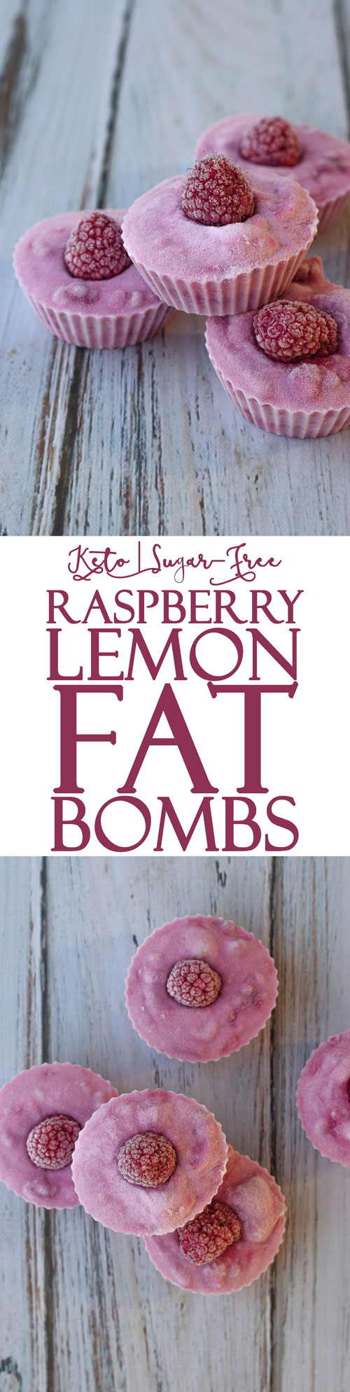 A simple four-ingredient dessert recipe, these raspberry lemon fat bombs are a real treat! Gluten-free, grain-free, sugar-free, Paleo, low-carb, keto.
