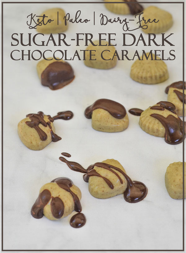 A simple and delicious recipe for sugar-free dark chocolate caramels. Made using a keto caramel sauce, these candies are made without harmful artificial sweeteners. Low-carb, Paleo, sugar-free, keto.