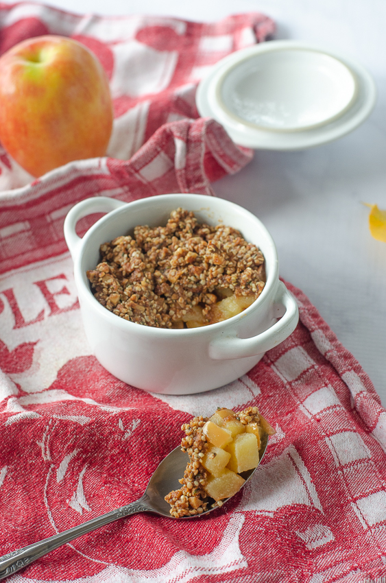 A quick and easy apple crisp recipe, perfect for when you want something sweet and crunchy, but don't want to wait 45 minutes for the baked kind. Paleo, gluten-free, grain-free, dairy-free, sugar-free.