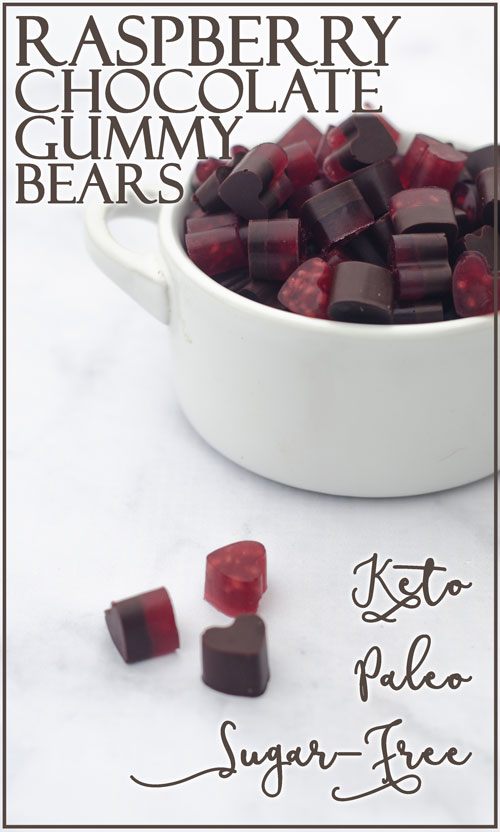 These raspberry chocolate gummy bears are the perfect Valentine's day treat! They are sweet, chewy and free of sugars, carbs and preservatives! Keto, low-carb, Paleo.