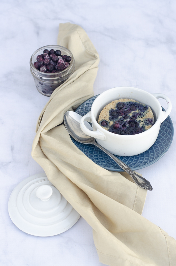 This delicious wild blueberry mug cake is made in just under 5 minutes from start to finish! Low-carb, ketogenic, paleo, sugar-free, vegetarian.