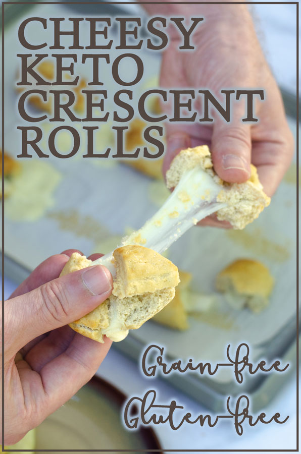 A delicious appetizer or side dish, these cheesy crescent rolls are a fun and delicious addition to any meal or get-together! Keto, low-carb, primal, gluten-free, grain-free.
