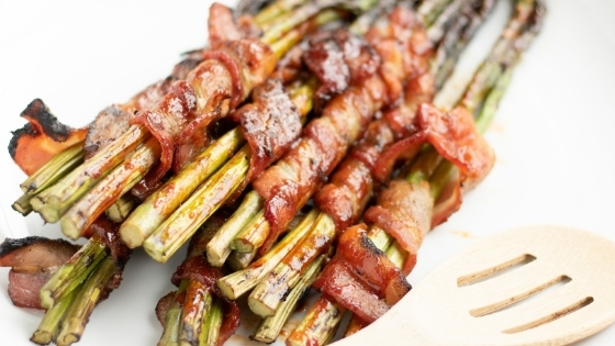 Gochujang Grilled Bacon Wrapped Asparagus