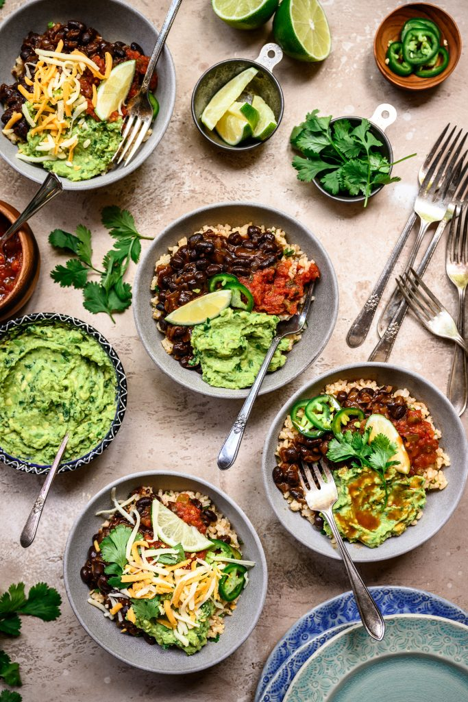 Vegan Burrito Bowls with Spicy Black Beans