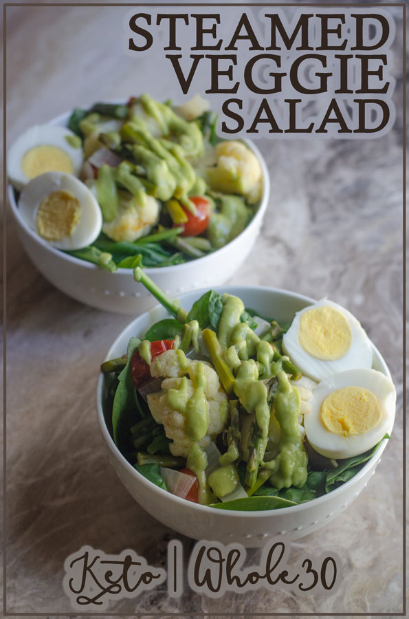 Looking for a delicious steamed vegetable salad? You are in the right place! This one is packed with tons of low-carb veggies, perfect for keto, vegan (simply omit the eggs) and everything in between.