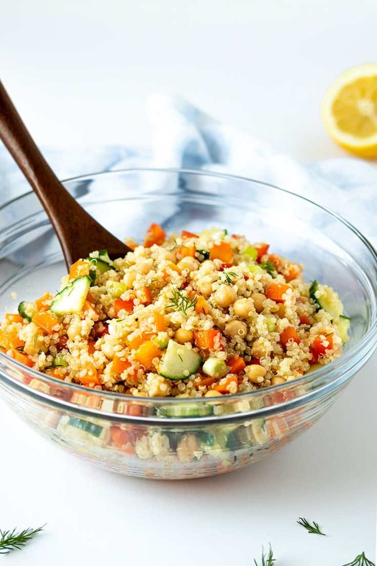 Quinoa and Chickpea Salad with Lemon Dill Dressing
