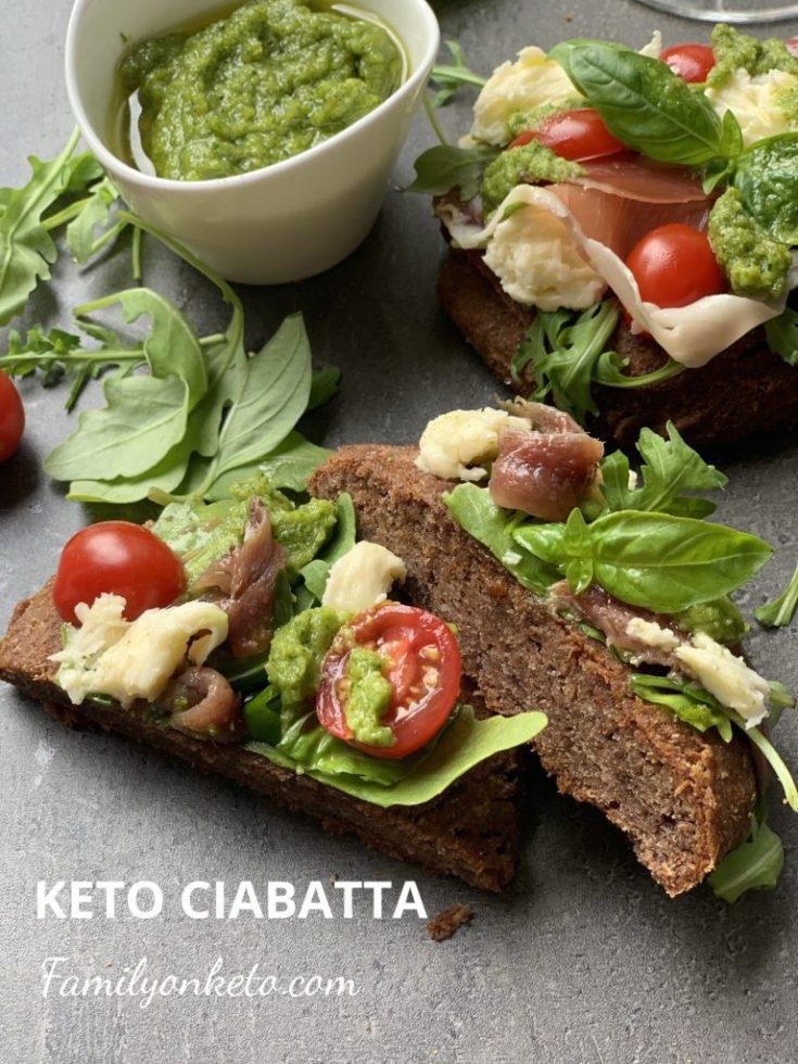 Keto ciabatta with keto toppings