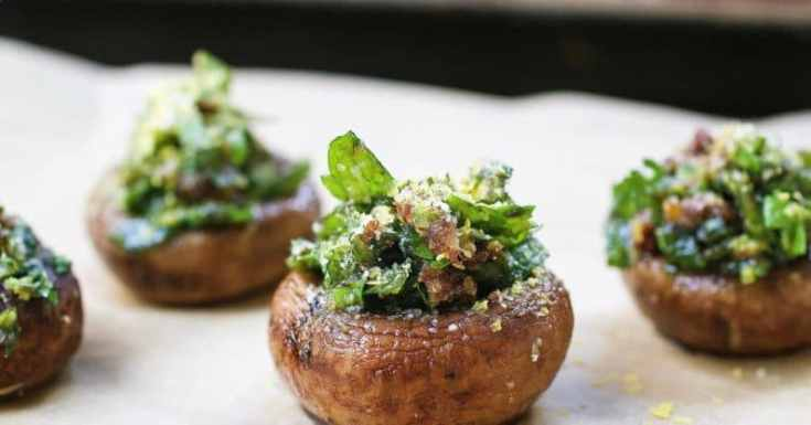 "Easy and ""cheesy"" HERB STUFFED MUSHROOMS"