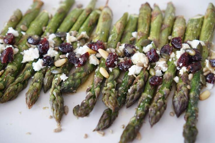 Roasted Asparagus Salad with Cranberries and Feta Cheese