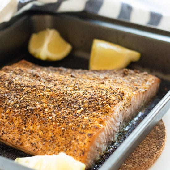 Oven-Baked Salmon with Lemon Pepper [Keto, Whole 30, Paleo]