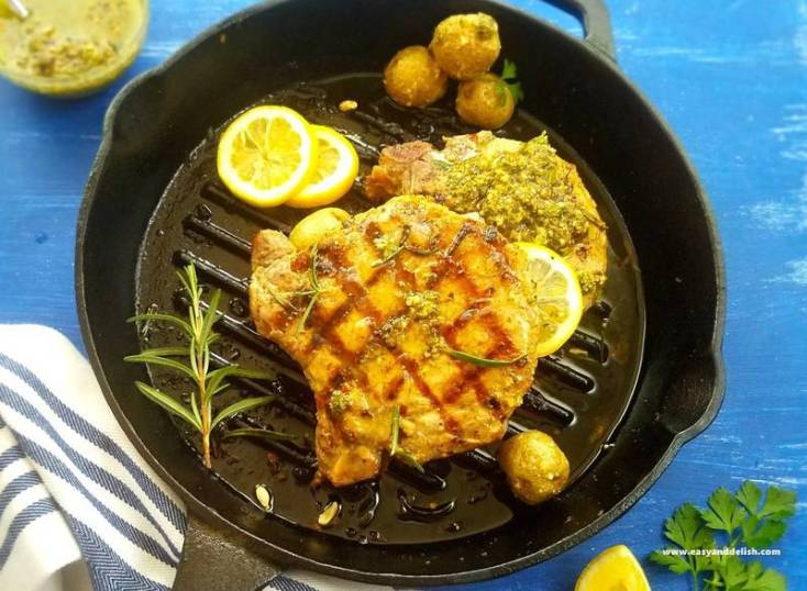 Pan Grilled Pork Chops with Chimichurri Sauce