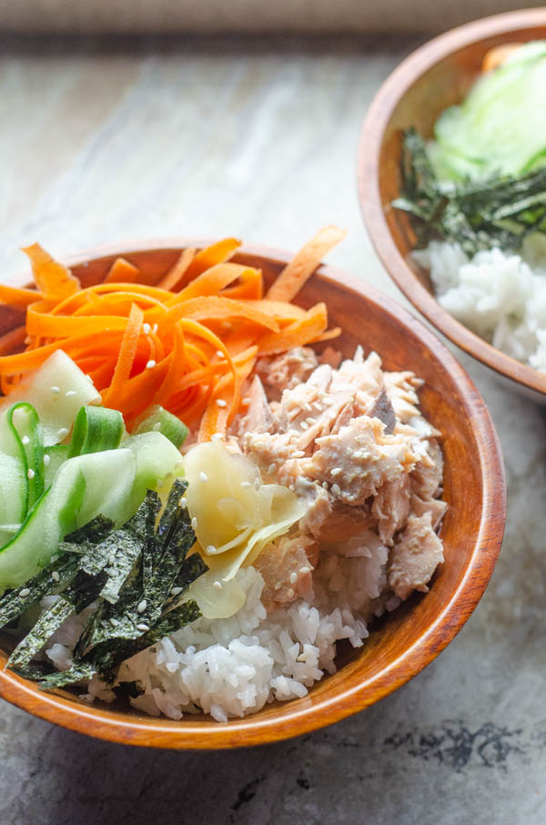 These salmon sushi bowls are an incredibly quick, easy and nutritious meal for busy nights. Gluten-free, dairy-free, soy-free.