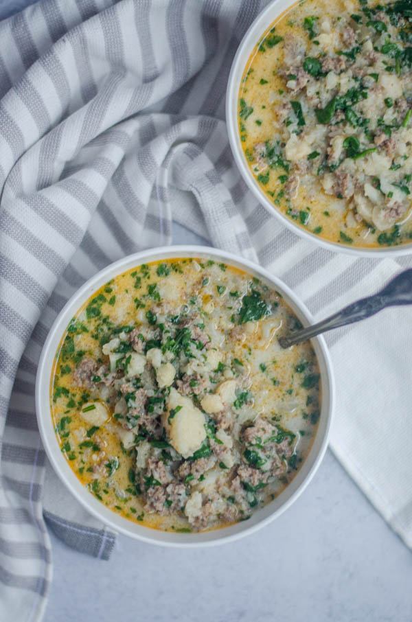 This low-carb zuppa toscana is a keto version of a favorite Olive Garden style soup! Paleo, dairy-free.